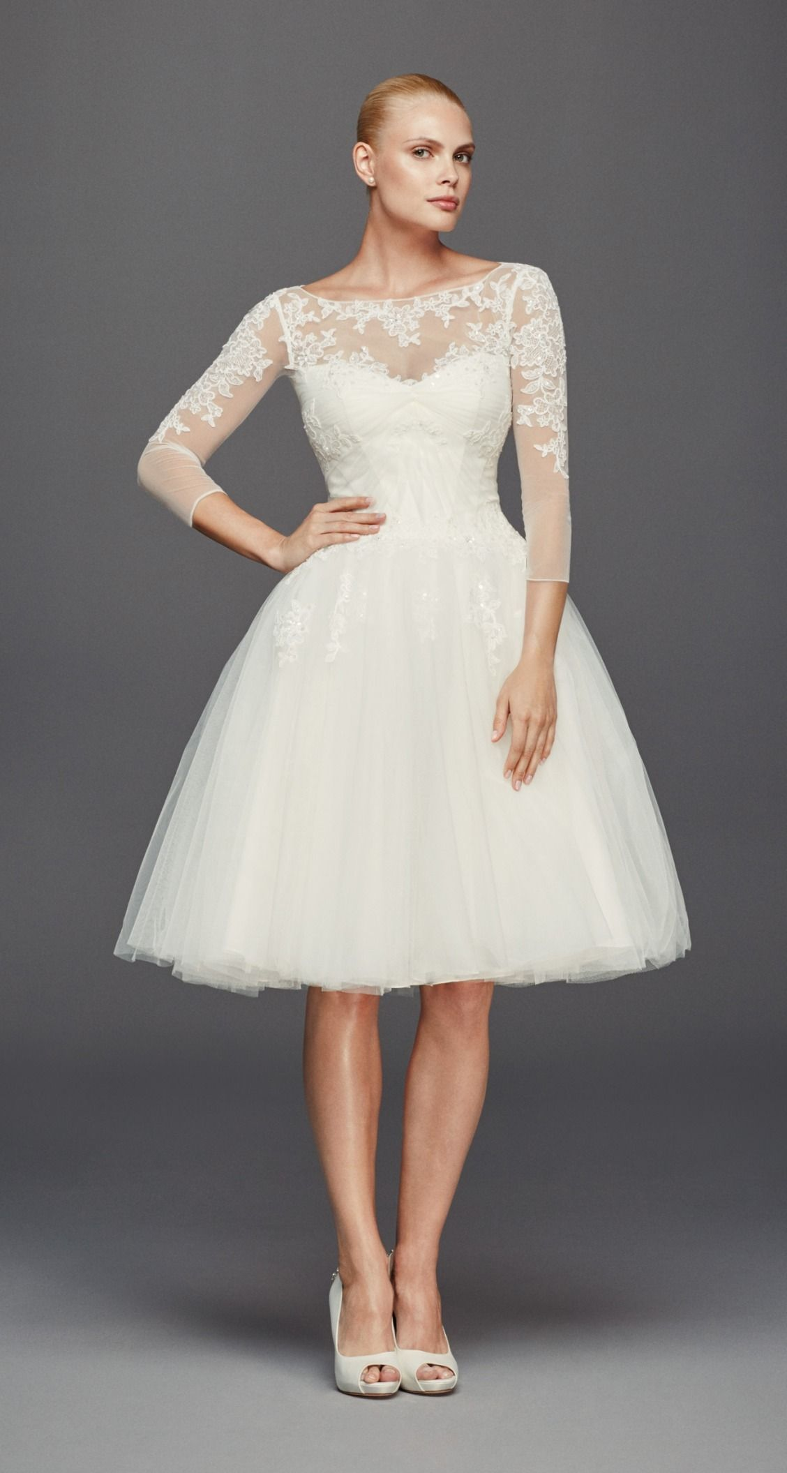 For The Ballerina Inspired Bride A Short Wedding Dress With A Full Skirt Is Meant Long Sleeve Short Wedding Dress Short Wedding Dress Wedding Dress Necklines [ 2111 x 1128 Pixel ]