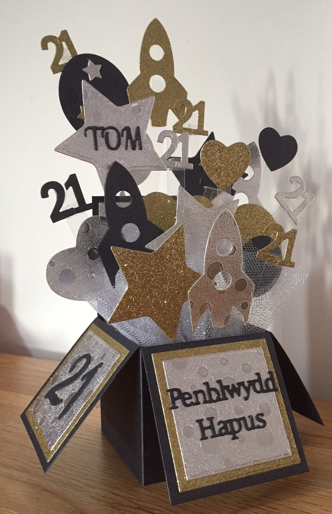 Pop Up Box Die Set Balloons Stars And Rocketships Along With Welsh Sentiments Alphabet Numbers Dies Were Used To Make This Male 21st Birthday Card