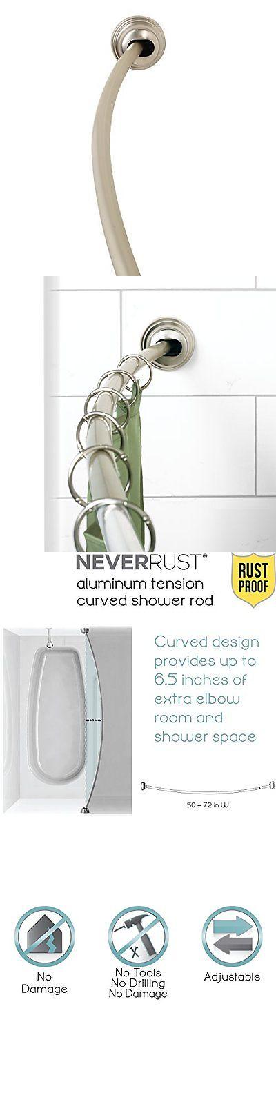 Shower Curtain Rods 168132: Zenna Home 35633Bnp, Neverrust Aluminum Tension Curved  Shower Curtain Rod