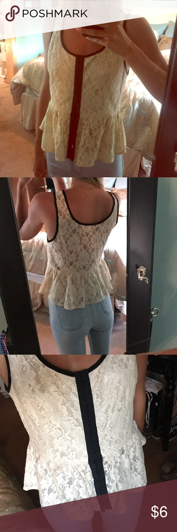 forever 21 lace peplum top off white/black button up peplum top. lace. back is see through. super cute... just realized i don't ever really wear it. Forever 21 Tops