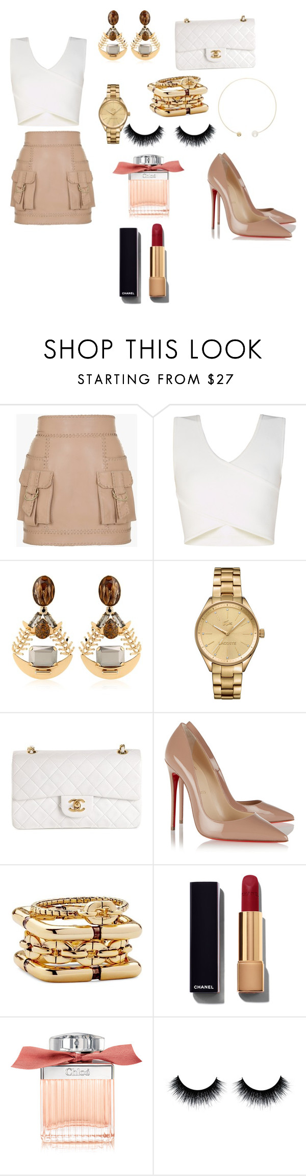 """""""Nude"""" by dula838 ❤ liked on Polyvore featuring Balmain, BCBGMAXAZRIA, REMINISCENCE, Lacoste, Chanel, Christian Louboutin, Diane Von Furstenberg, Chloé, Sophie Bille Brahe and women's clothing"""