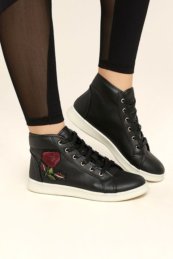 414a4af788 Be comfy and cute in the Cynara Black Embroidered High-Top Sneakers! Soft  vegan leather sneakers have a retro-inspired high-top design