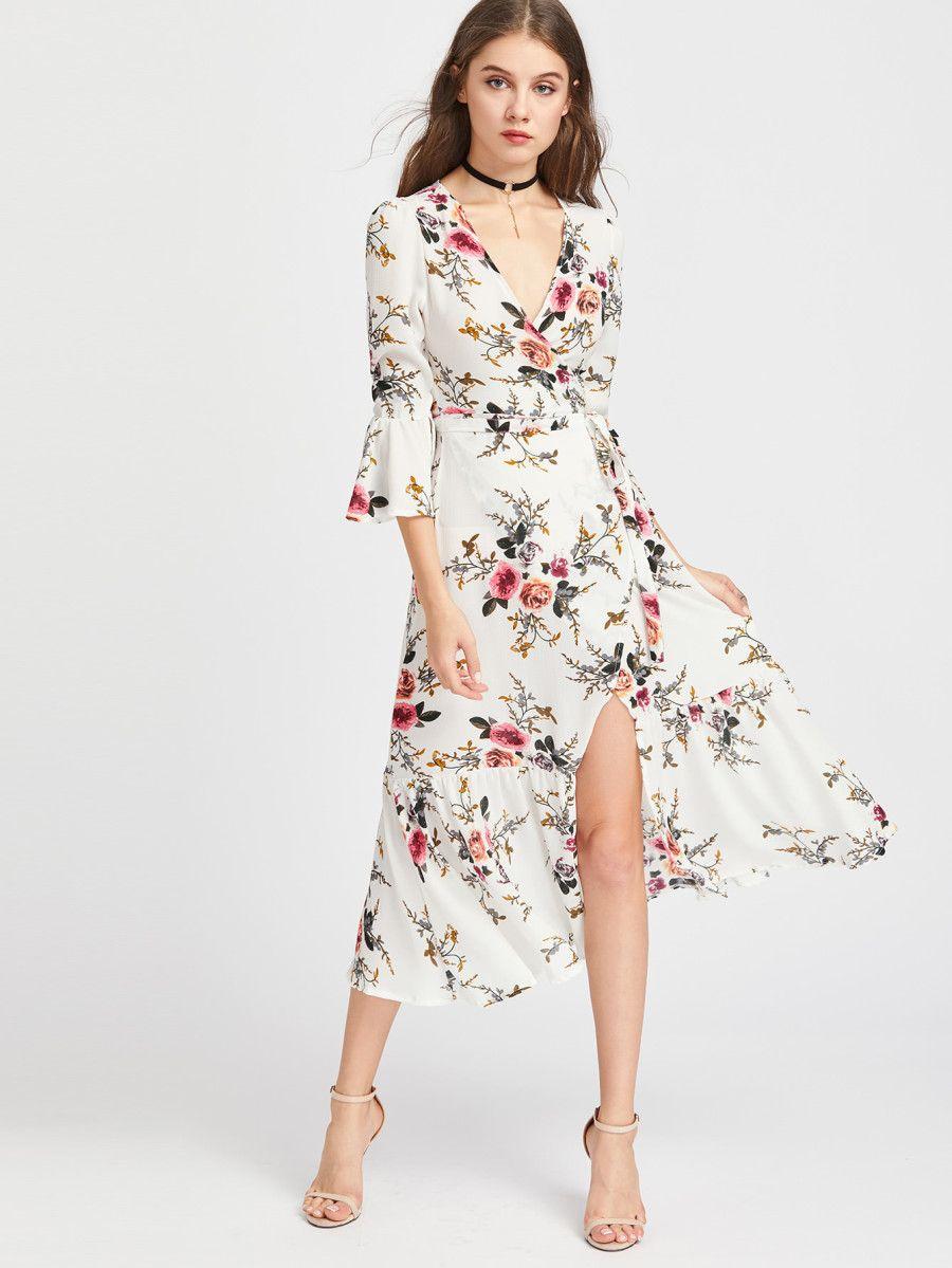 08fd1c9ed6 Shein Plunge Neck Floral Print Bell Sleeve Slit Side Dress   Clothes ...