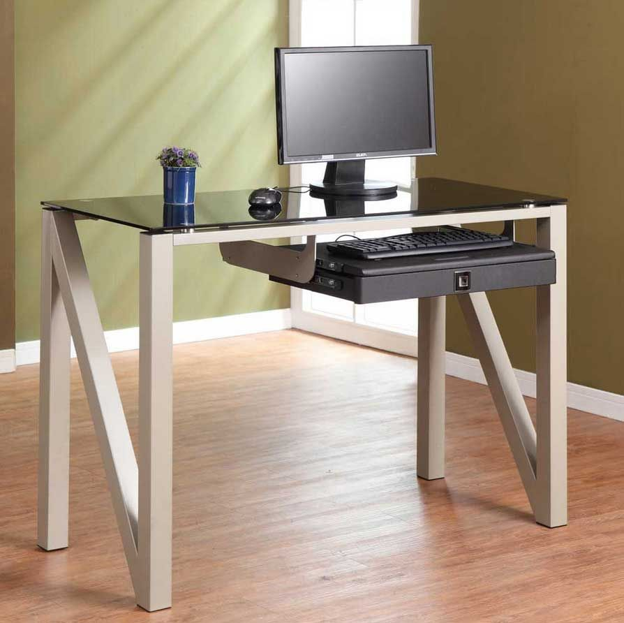 Glass Computer Desk Small With Slide Out Keyboard Shelf Designed