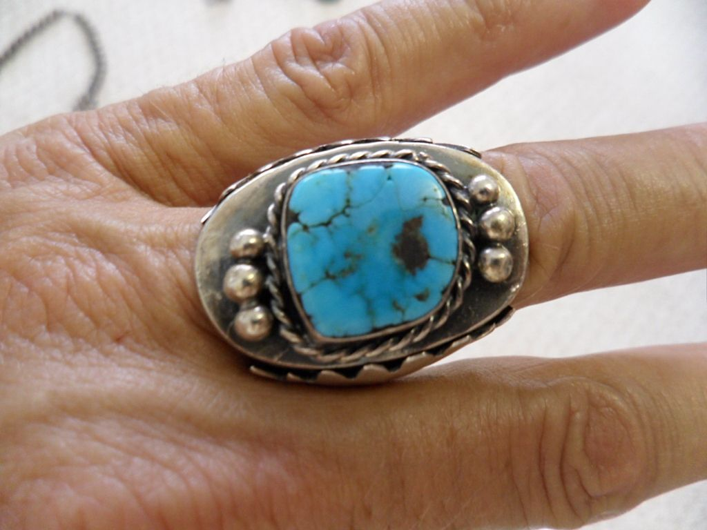 Blue Bisbee, Lavender Pit Matrix Turquoise Ring, Navajo, Old Pawn, Unsigned