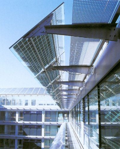 De Groot & Visser uses photovoltaic panels in facades, both to generate electricity and to give shade. They call it Building Integrated Photo Voltaic.