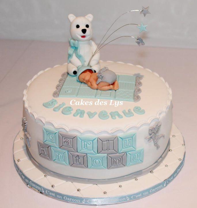 Gateau pate a sucre naissance garcon baby shower bigbig pinterest b b f tes et r ception - Deco anniversaire bebe garcon ...