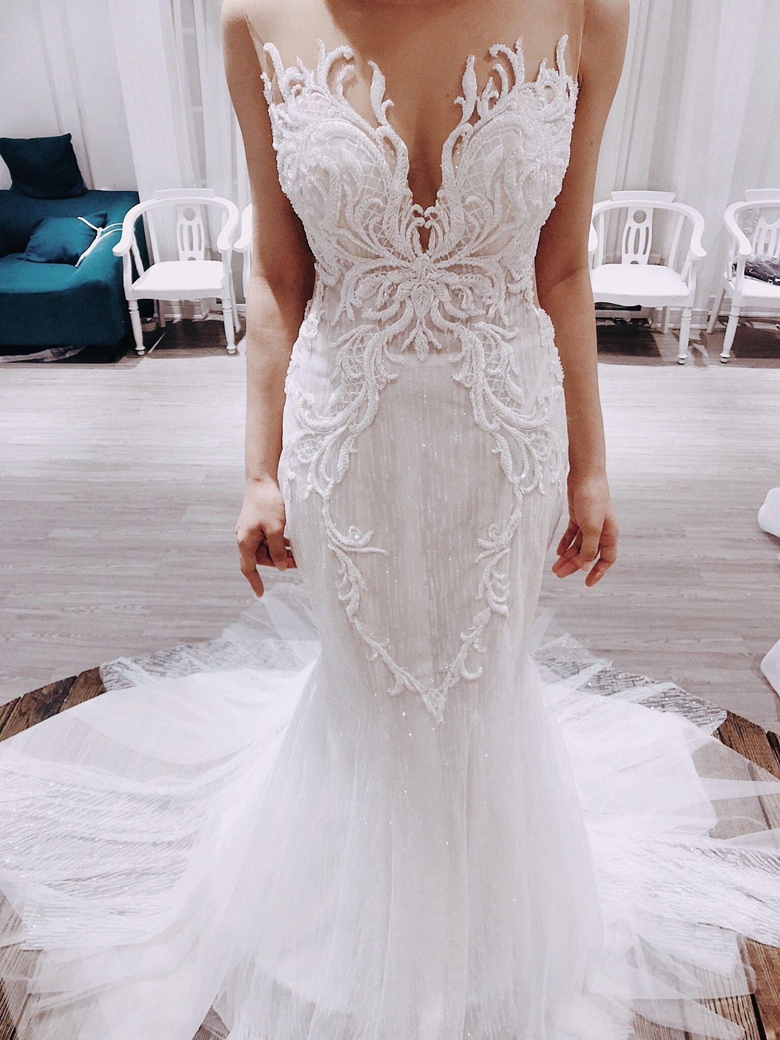 Arico Sparkly Mermaid Wedding Dress With Backless Long Etsy Embroidered Wedding Dress Wedding Dresses Unique Wedding Dresses [ 2048 x 1536 Pixel ]