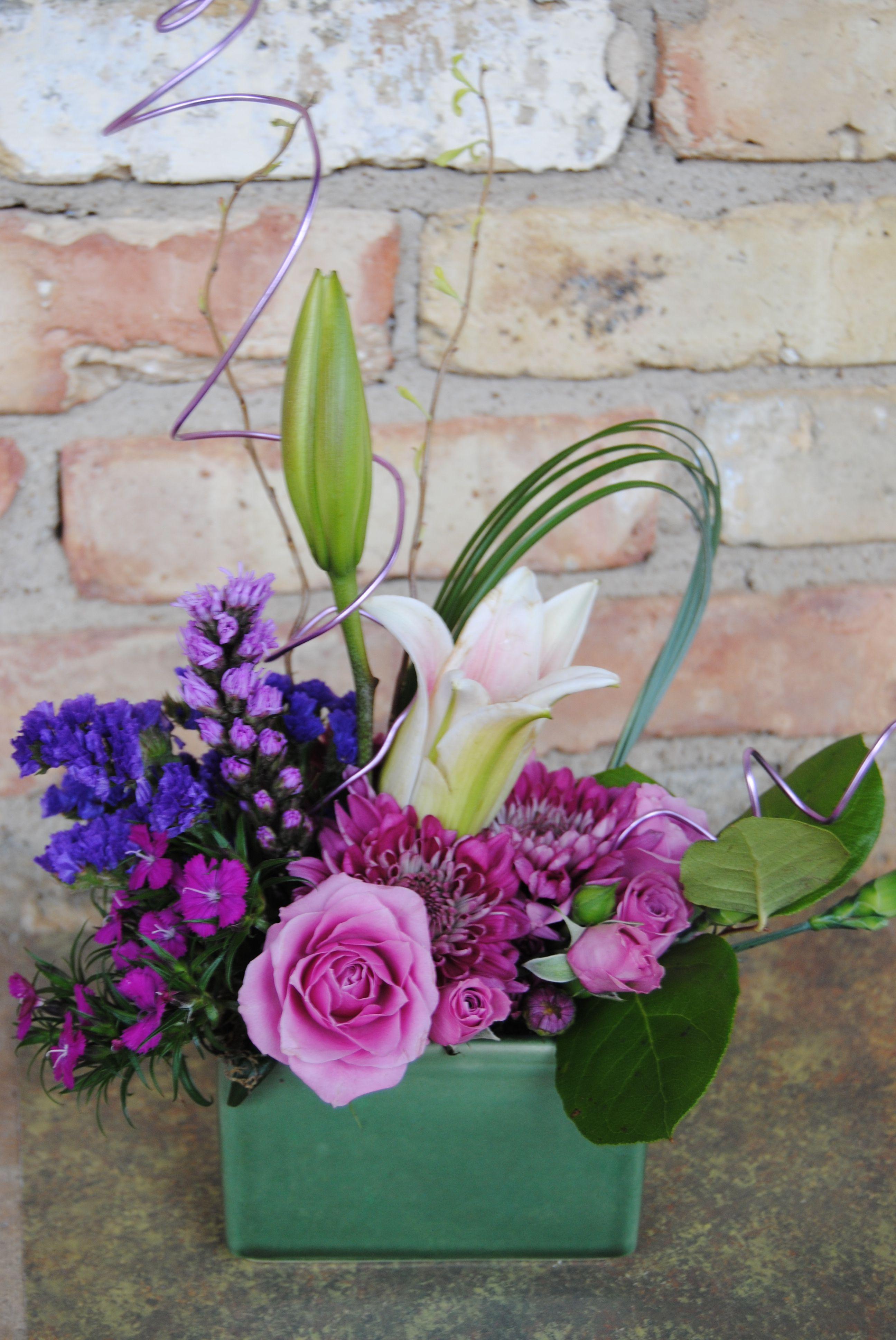 Spring Flower Arrangement Small Purple Table Arrangement Spring
