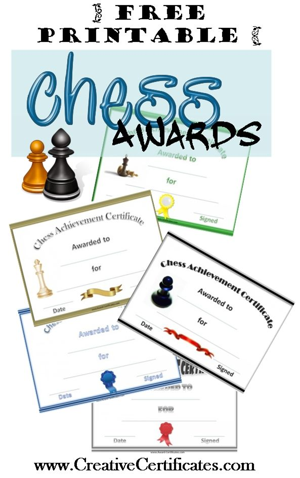 Free printable chess awards and certificates Chess Pinterest - sports certificate in pdf