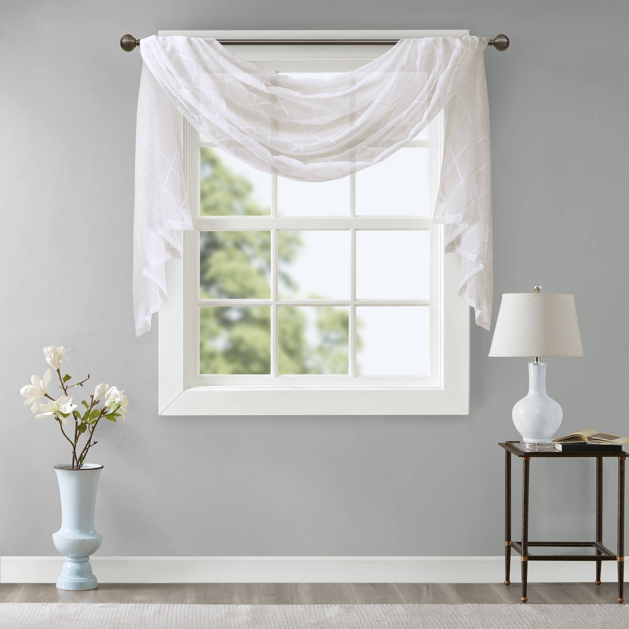 Madison park iris diamond sheer embroidered window curtain scarf
