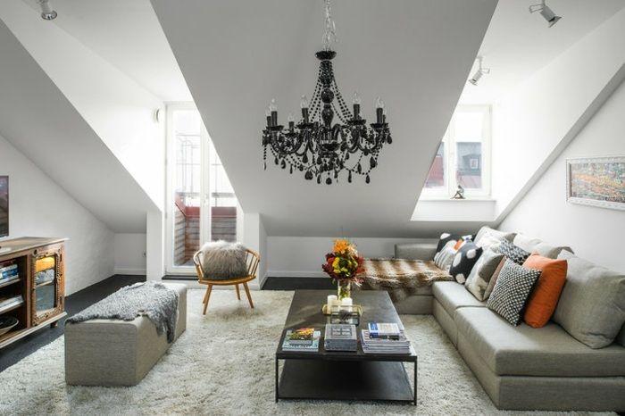 Wohnzimmer Einrichtung Ideen Raum Mit Dachschrage Wohnzimmer