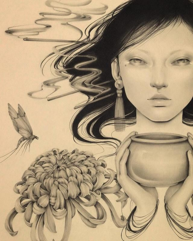 Ozabu creates gorgeous pencil drawings inspired by japanese culture cutpastestudio illustrations entertainment beautifulcreativity artist art