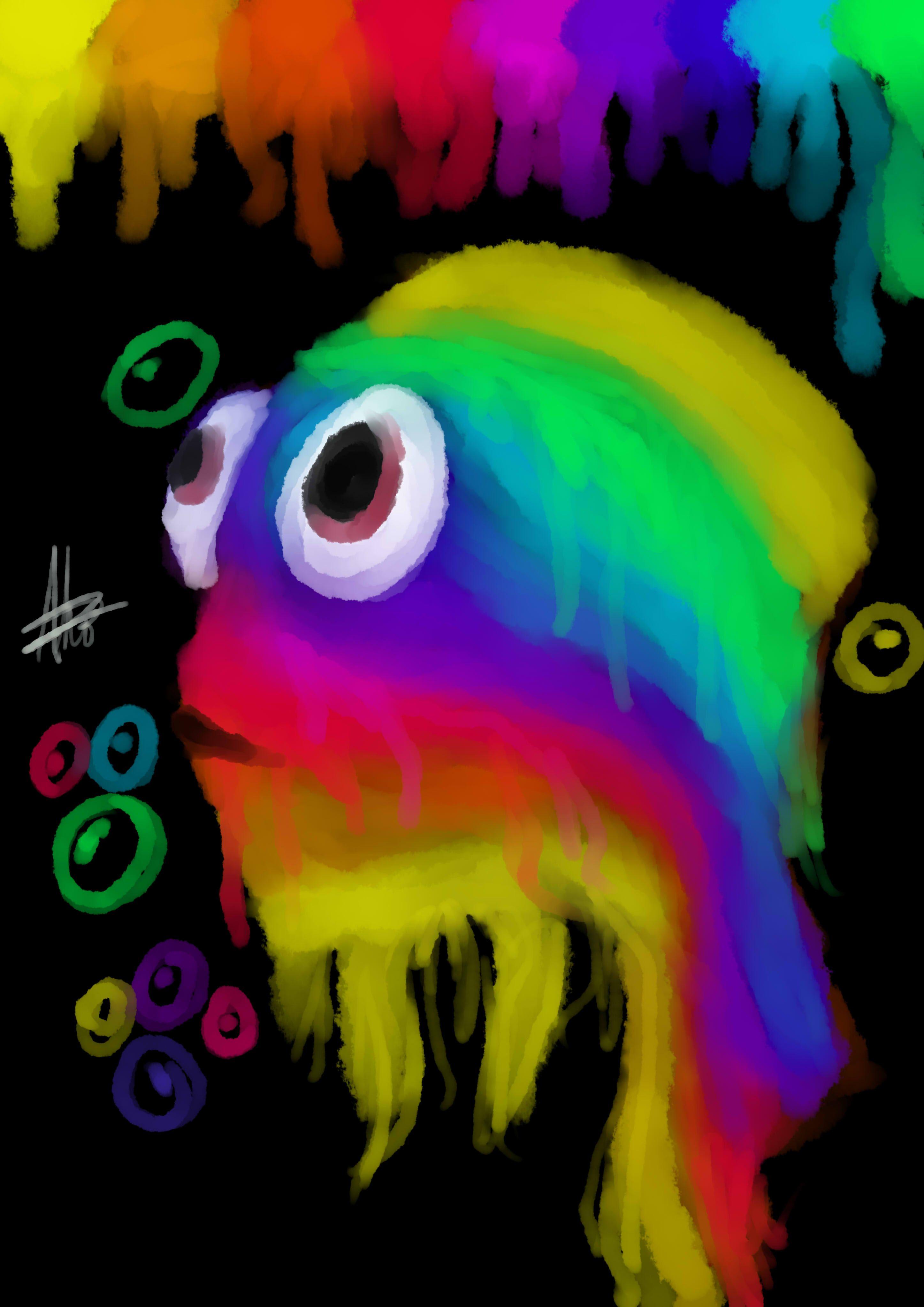I tried drawing a rainbow dory XD