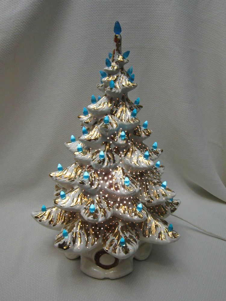 vintage atlantic mold 20 white and gold ceramic christmas tree 1970s