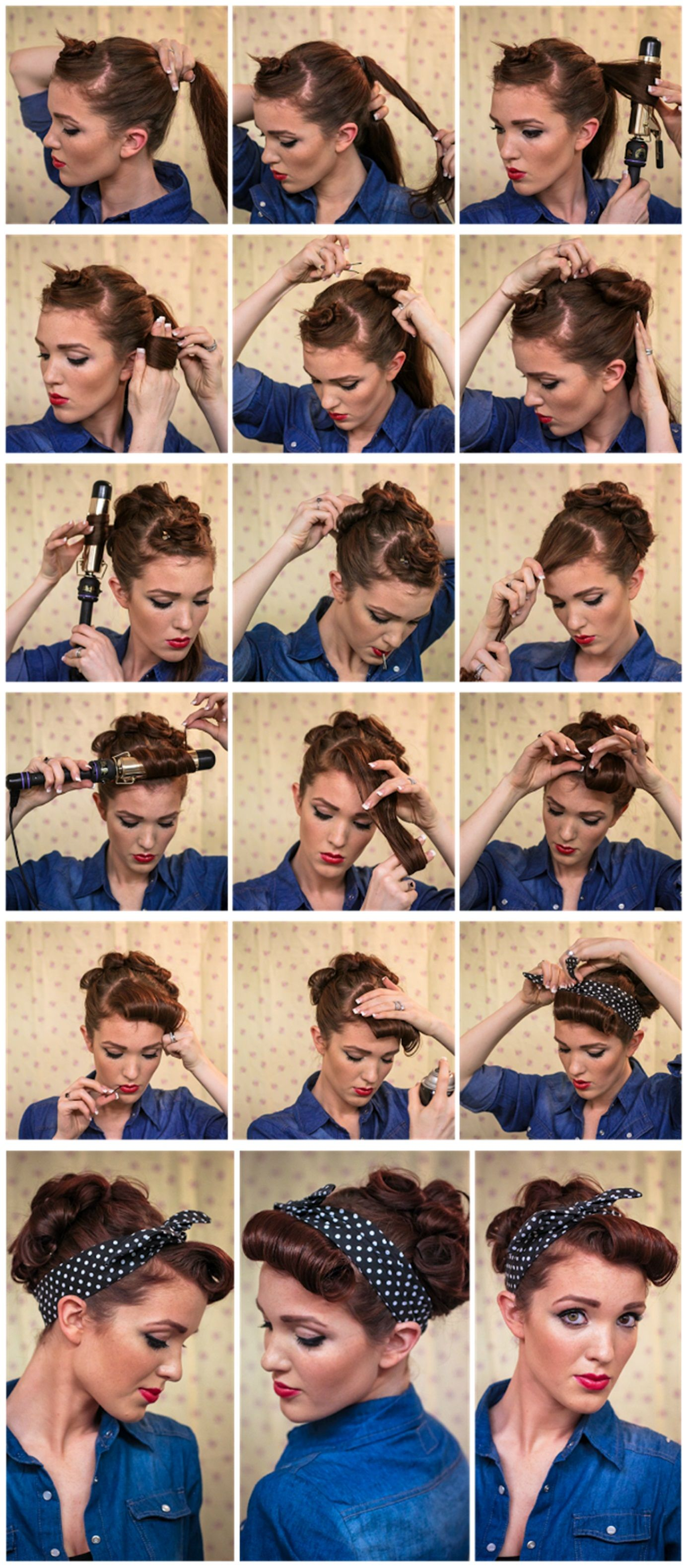 Rockabilly Rosie Hair Style Tutorial Vintage Hairstyles Tutorial Old Hairstyles 1950s Hair Tutorial