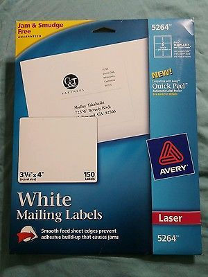 avery 5264 laser labels mailing permanent 3 1 3 x4 96 pk white