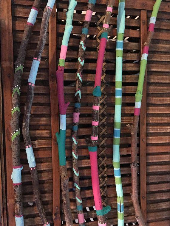 Palillos de madera pintados a mano viene con siete palos - Muebles decorados a mano ...