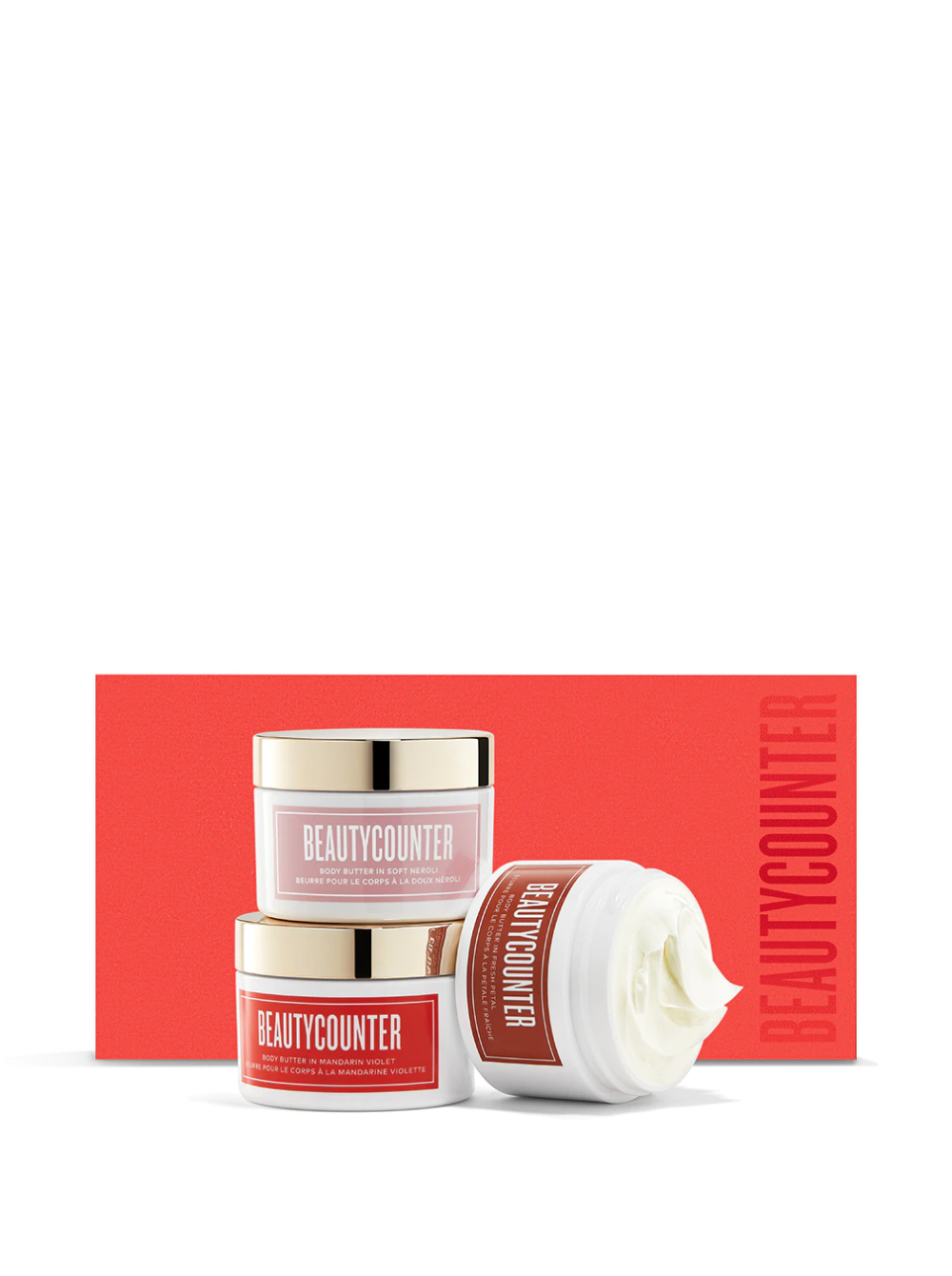 This trio of decadent body butters glide on easily, absorb