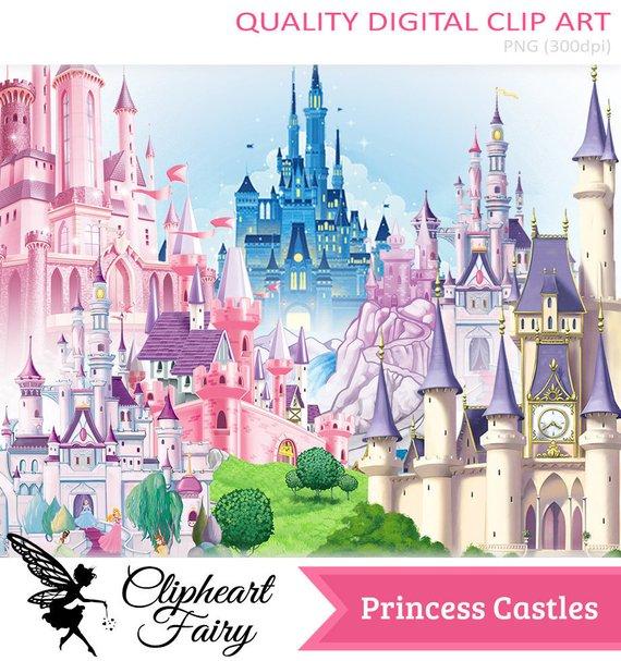 Princess Castles Png Pack High Quality Digital Art Transparent Background Png Clipart Design Image Files Princess Castle Clipart Design Clip Art