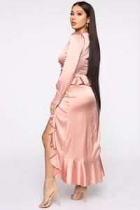 Photo of Sabrina Satin Skirt Set – Rose Gold