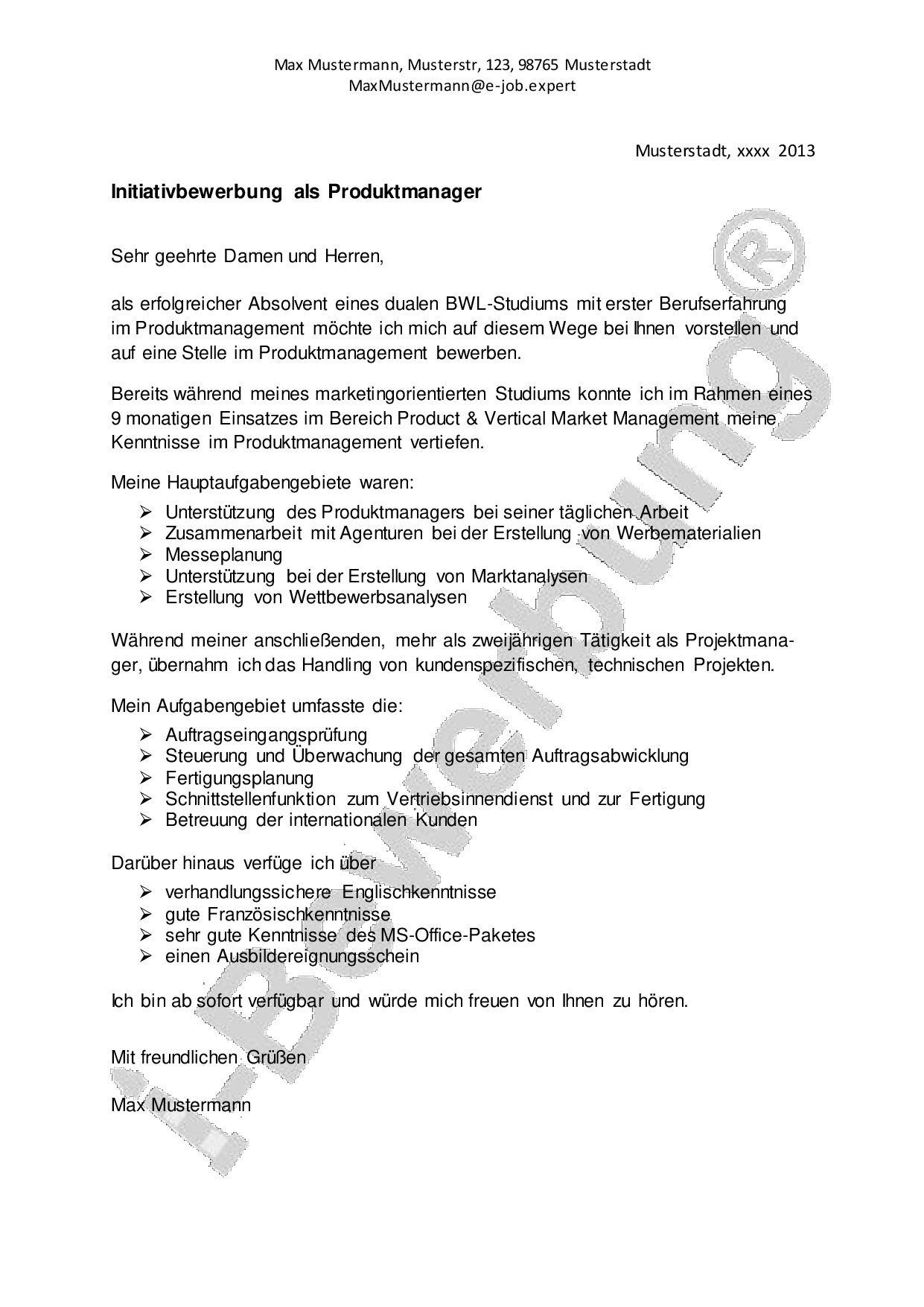 Vorlage Anschreiben zur Initiativbewerbung als Produktmanager ...