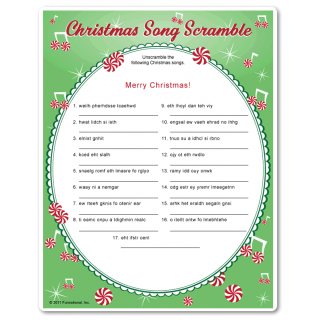 christmas song scramble with names of classic christian christmas songs you hear on the radio adult christmas game - Christmas Songs Classic