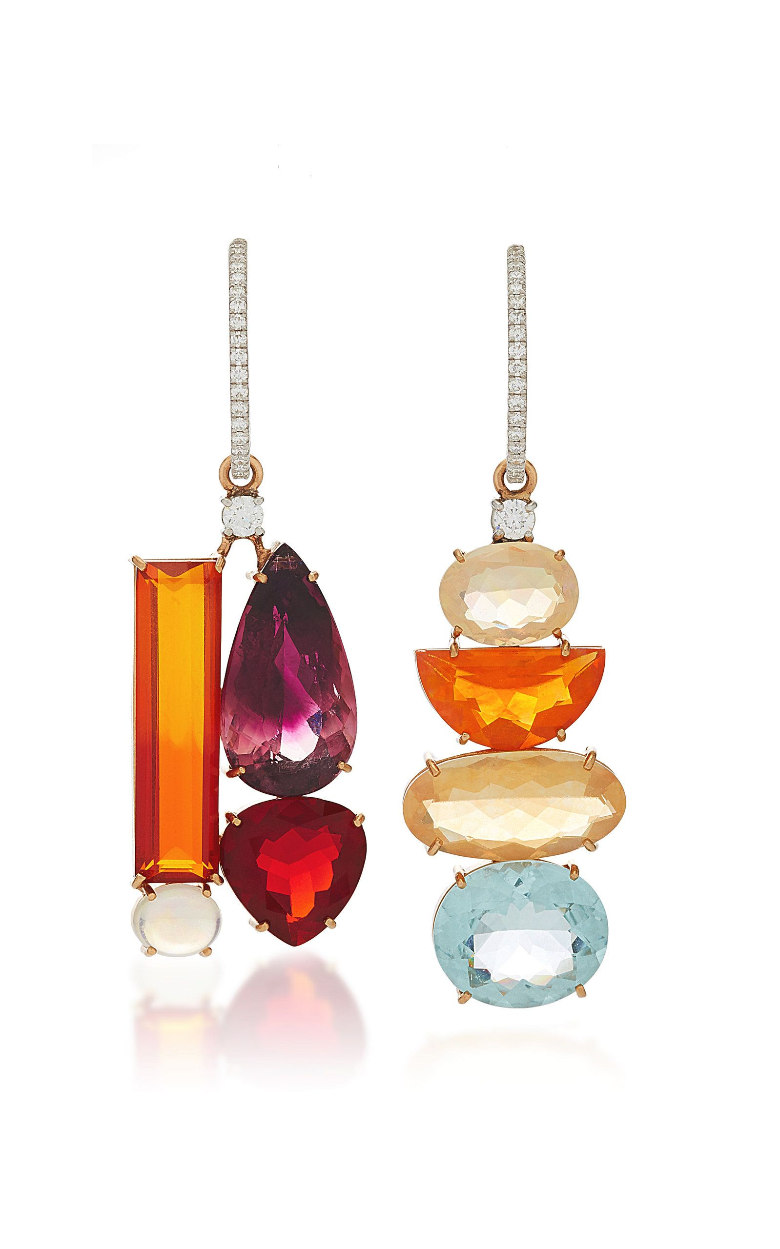f00906989 One-Of-A-Kind 18K Gold Pink Tourmaline And Fire Opal Mismatch Charm Earrings  by IRENE NEUWIRTH for Preorder on Moda Operandi