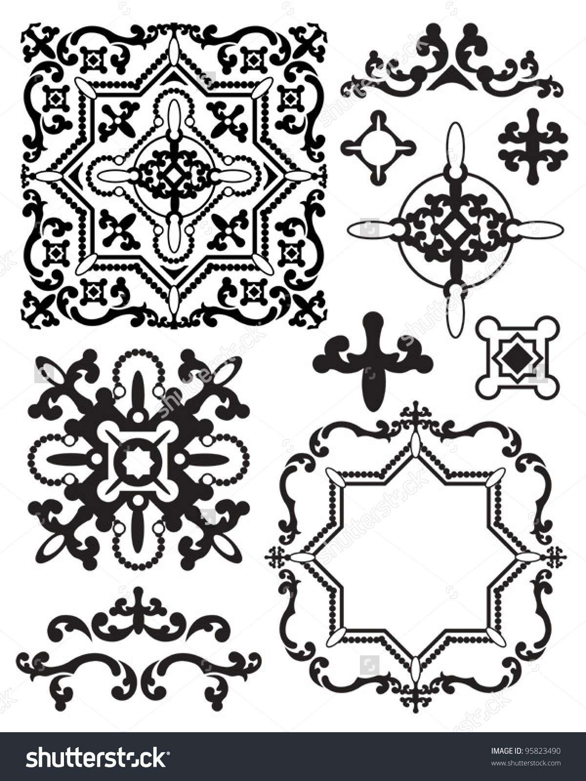 Moroccan Stencil Design Elements Use To Create Your Own Backgrounds
