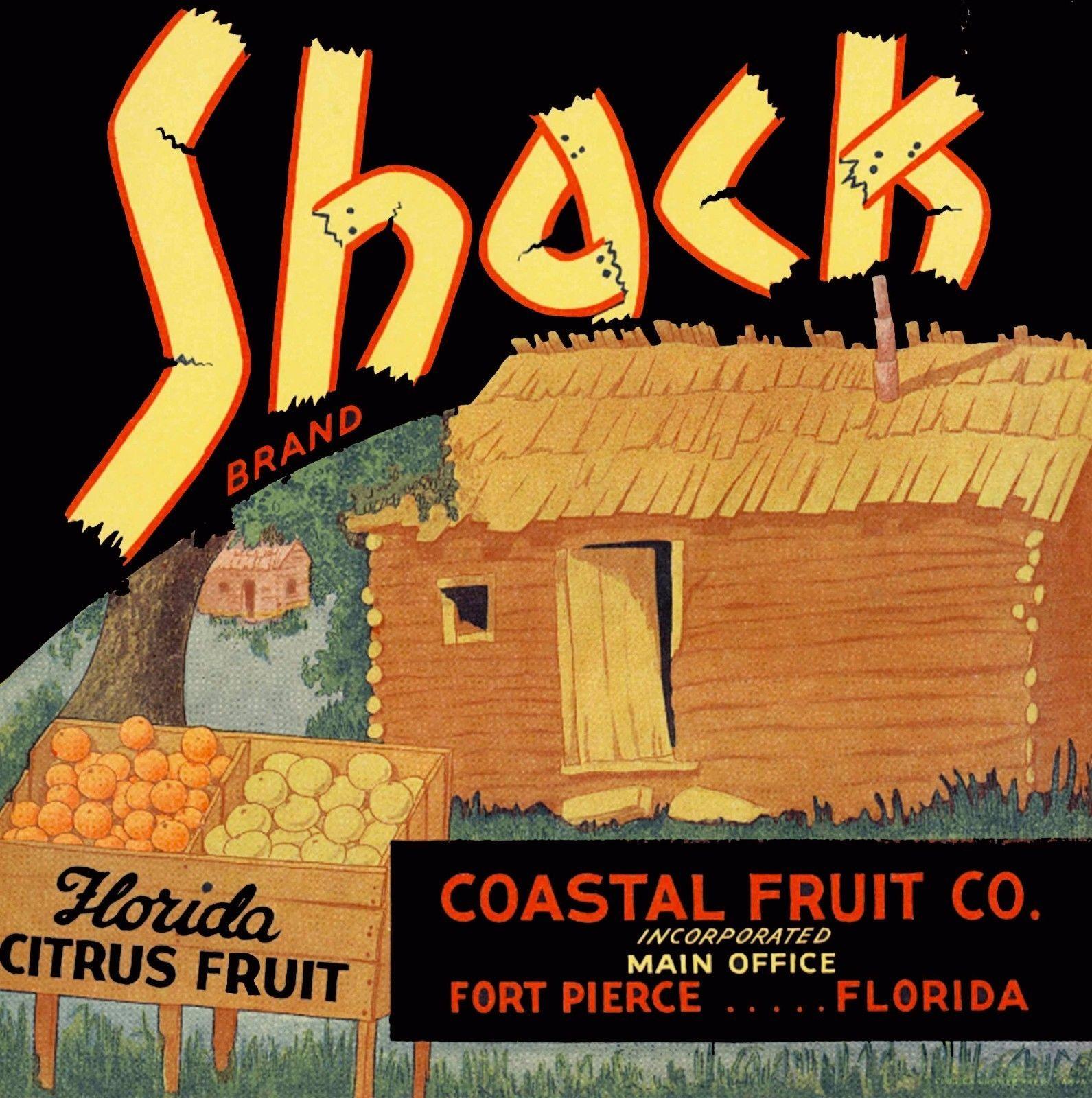 Fort Pierce Florida Shack Orange Citrus Fruit Crate Label