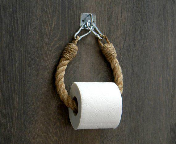 Support de corde de papier hygiénique.. Décor industriel.. Porte-rouleau de toilette.. Jute corde décor nautique.. Décor de salle de bain.. Porte-serviette – Samantha's room