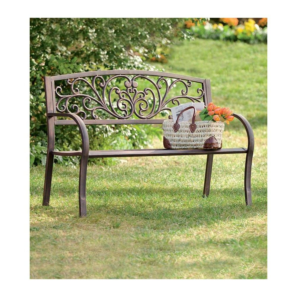 Steel Frame Outdoor Garden Bench With Blooming Decorative Scroll