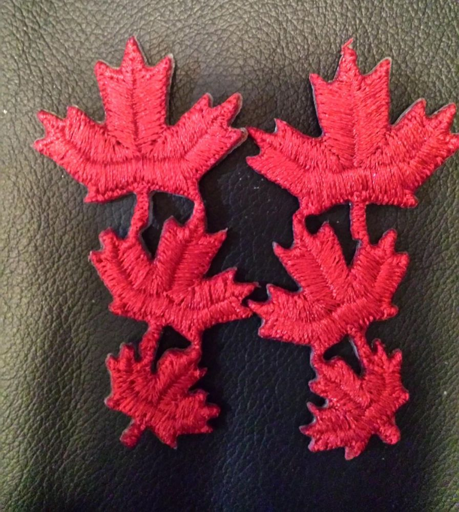2 Two Red Maple Leaf Leaves Iron On Embroidered Patch