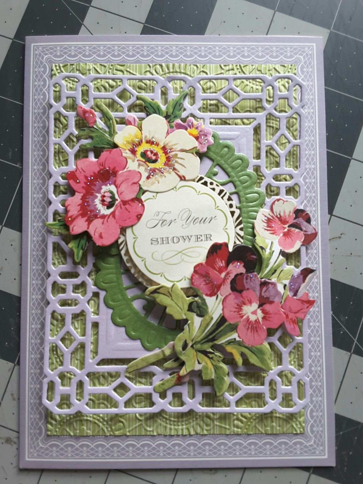 Bridal shower card made with anna griffin products by christa trude