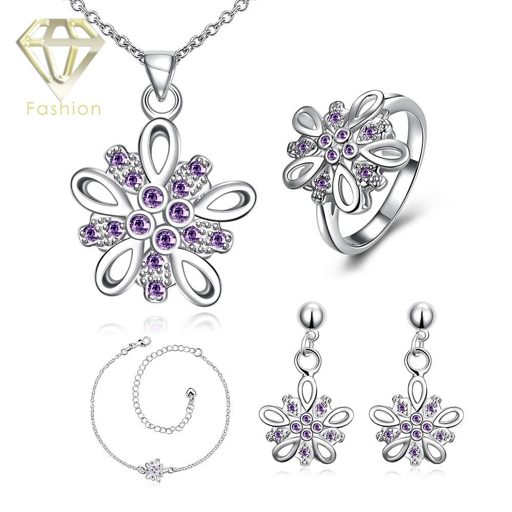 fashion popular silver plated flower inlaid purplewhiteblue