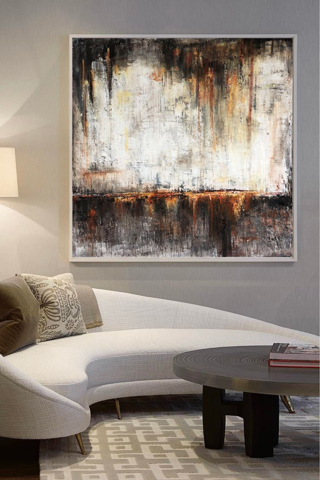 large acrylic painting brown abstract painting white on modern acrylic paintings for living room id=66652