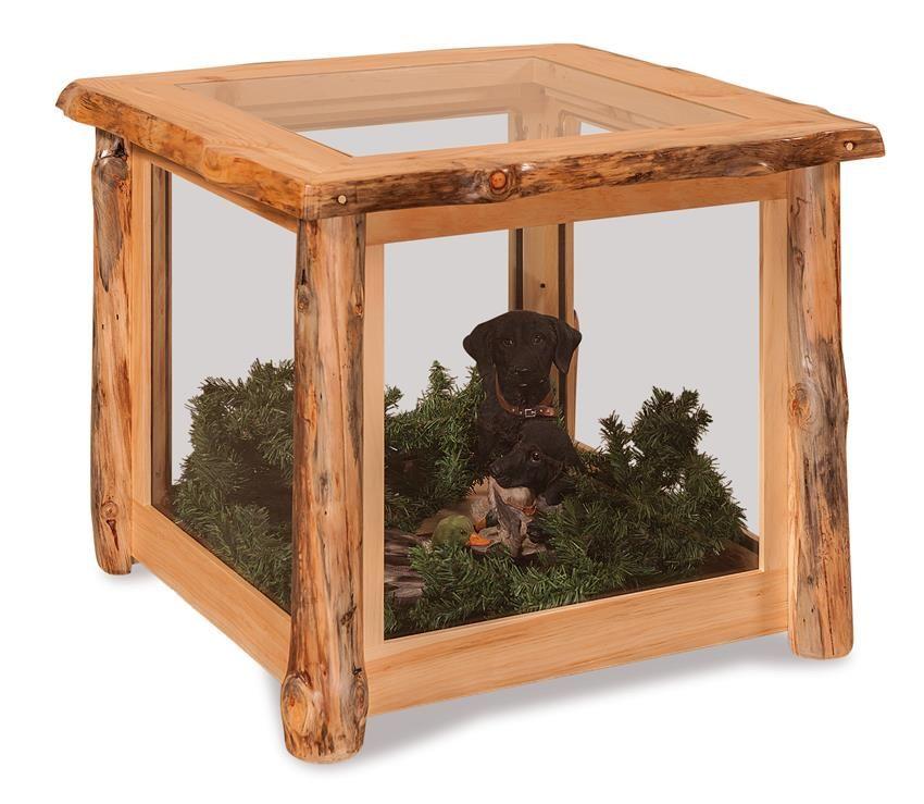 amish rustic log wood display end table