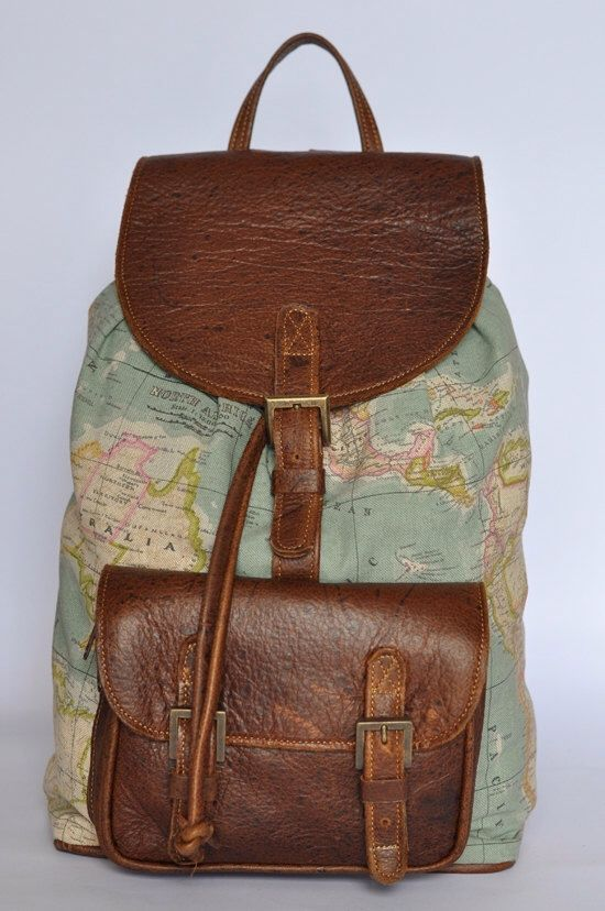 Genuine leather and world map atlas print backpack by doubleedge on genuine leather and world map atlas print backpack by doubleedge on etsy https gumiabroncs Choice Image
