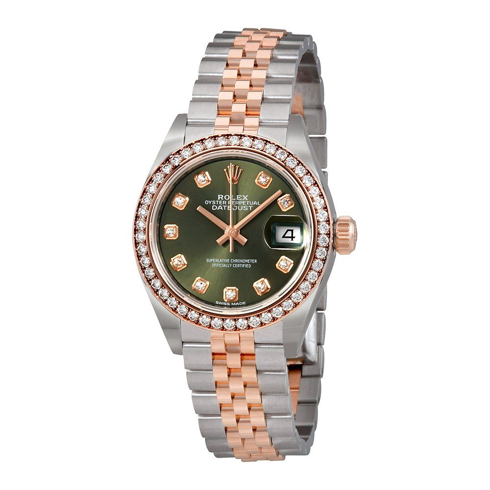 Rolex lady datejust olive green dial diamond automatic watch