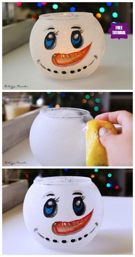 DIY Fish Bowl Snowman Christmas Decoration Crafts Tutorial-Video #snowmancrafts