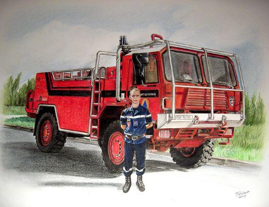 Dessin Crayon De Couleur D Un Camion De Pompier Personnage Pompier
