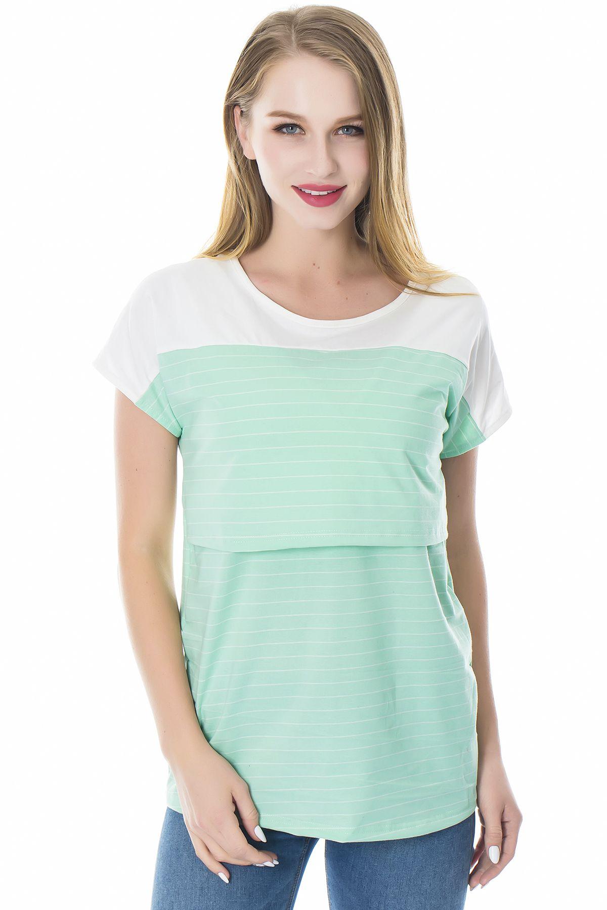 Smallshow Womens Short Sleeve Patchwork Nursing Dresses for Breastfeeding