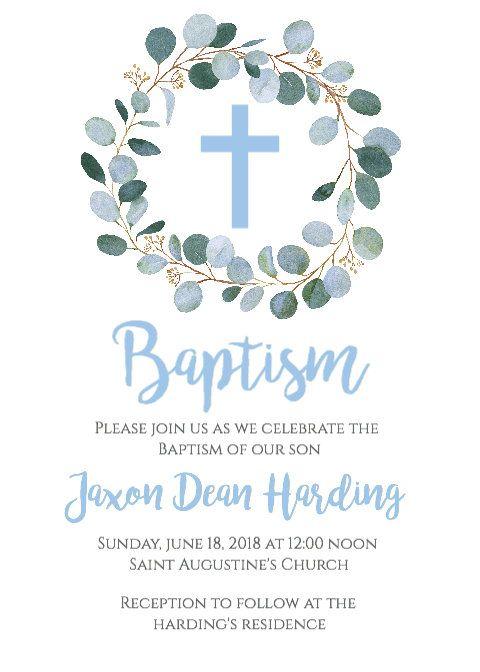 boy baptism invitation  greenery baptism invitation