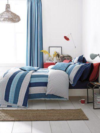 V A Thames Denim Blue Red White Stripe Super King Size Duvet Cover Set V A Amazon Co Uk Kitchen Ho Bed Linen Sets Blue Duvet Cover Duvet Cover Sets