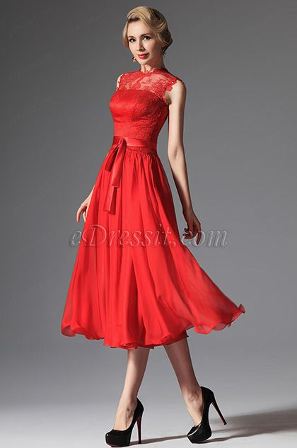 Red High Collar Overlace Mid Calf Cocktail Dress 04145402 Dream