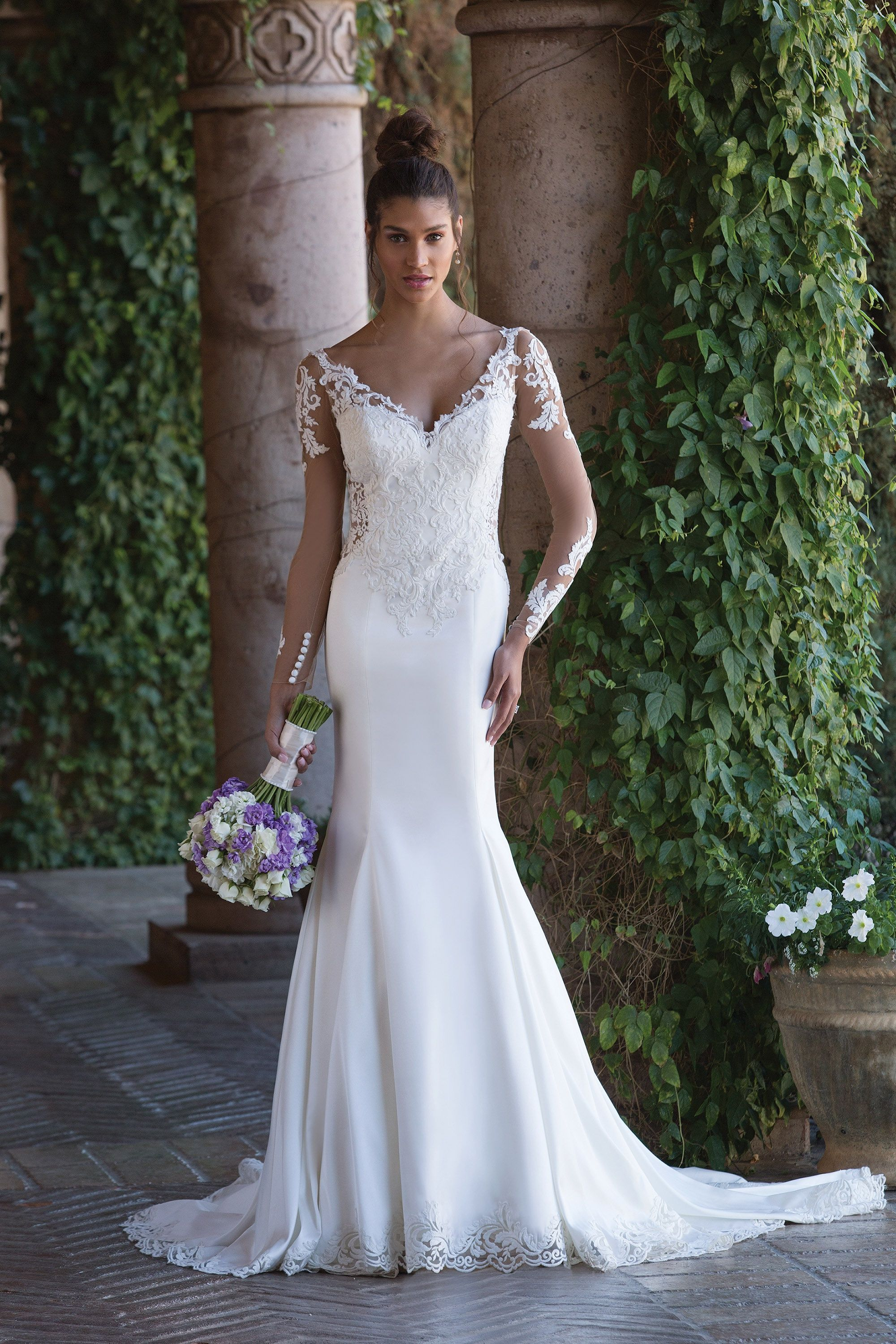 Style 9872: Stretch Fit and Flare Gown with Sheer V-Neck and V-Back | Justin Alexander Signature