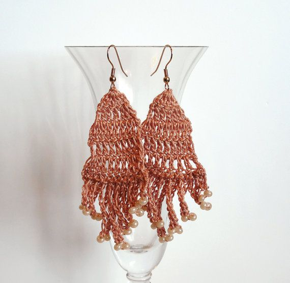 Light Copper Color Crochet Earrings Dangle by APassionForHandmade, $10.00