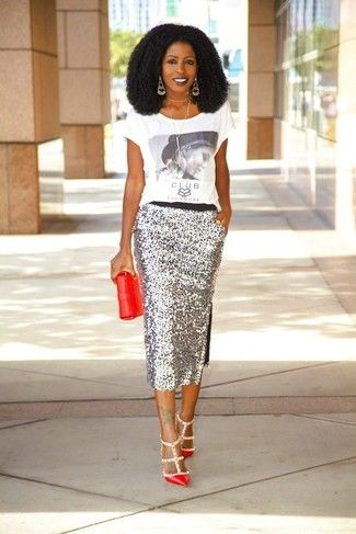 b45d5da9b8 Women's White and Black Print Crew-neck T-shirt, Silver Sequin Midi Skirt,  Red Leather Pumps, Red Leather Clutch