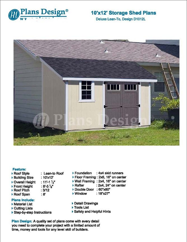 10 X 12 Garden Storage Lean To Shed Plans Etsy In 2020 Shed Plans Backyard Shed Shed