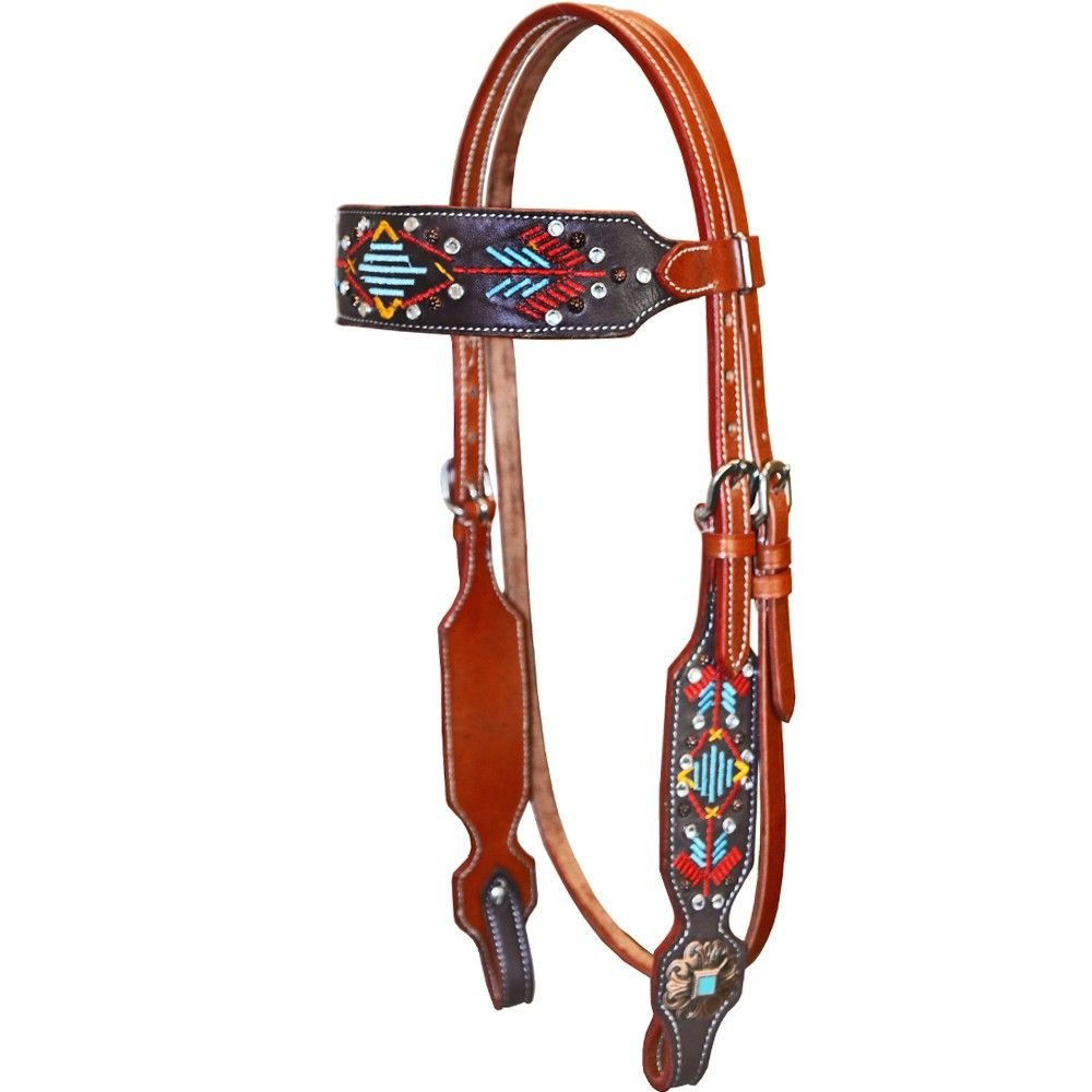 Aztec Stitched Browband Headstall by Krazy Girl Tack | TACK